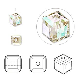 bead, swarovski crystals, crystal passions, crystal luminous green, 6x6mm faceted cube (5601). sold per pkg of 6.