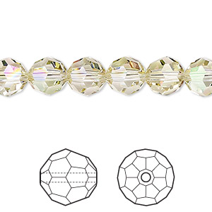 bead, swarovski crystals, crystal passions, crystal luminous green, 8mm faceted round (5000). sold per pkg of 144 (1 gross).