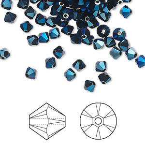 bead, swarovski crystals, crystal passions, crystal metallic blue 2x, 4mm xilion bicone (5328). sold per pkg of 144 (1 gross).