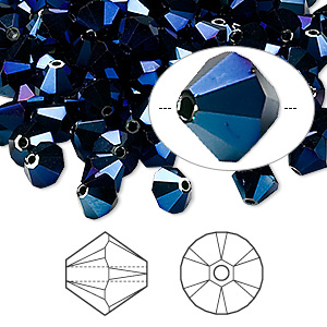 bead, swarovski crystals, crystal passions, crystal metallic blue 2x, 6mm xilion bicone (5328). sold per pkg of 144 (1 gross).