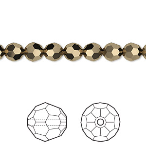 bead, swarovski crystals, crystal passions, crystal metallic light gold 2x, 6mm faceted round (5000). sold per pkg of 144 (1 gross).