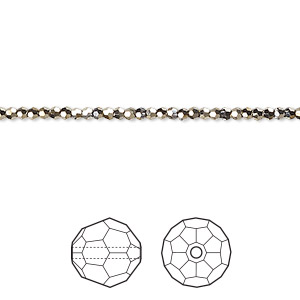 bead, swarovski crystals, crystal passions, crystal metallic light gold 2x, 2mm faceted round (5000). sold per pkg of 12.