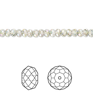 bead, swarovski crystals, crystal passions, crystal paradise shine, 4x3mm faceted rondelle (5040). sold per pkg of 144 (1 gross).