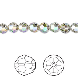 bead, swarovski crystals, crystal passions, crystal paradise shine, 6mm faceted round (5000). sold per pkg of 12.