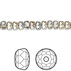 bead, swarovski crystals, crystal passions, crystal paradise shine, 6x4mm faceted rondelle (5045). sold per pkg of 6.