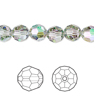 bead, swarovski crystals, crystal passions, crystal paradise shine, 8mm faceted round (5000). sold per pkg of 144 (1 gross).