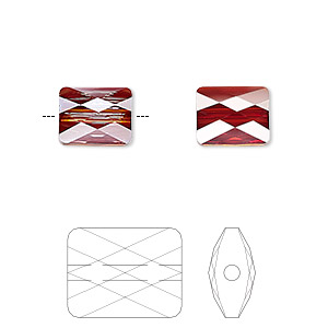 bead, swarovski crystals, crystal passions, crystal red magma, 10x8mm faceted mini rectangle (5055). sold per pkg of 2.
