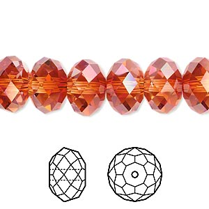 bead, swarovski crystals, crystal passions, crystal red magma, 12x8mm faceted rondelle (5040). sold per pkg of 12.