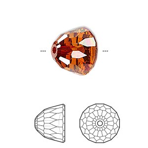 bead, swarovski crystals, crystal passions, crystal red magma, 14x11mm faceted dome small (5542). sold per pkg of 6.