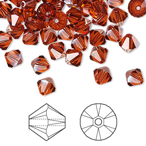 bead, swarovski crystals, crystal passions, crystal red magma, 6mm faceted bicone (5301). sold per pkg of 144 (1 gross).