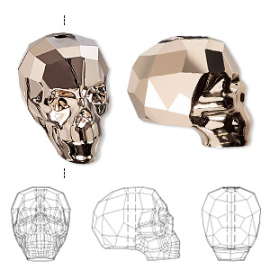 bead, swarovski crystals, crystal passions, crystal rose gold 2x, 19x18x14mm faceted skull (5750). sold individually.