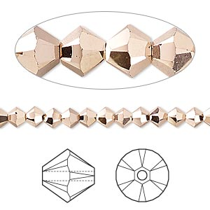 bead, swarovski crystals, crystal passions, crystal rose gold 2x, 4mm xilion bicone (5328). sold per pkg of 48.
