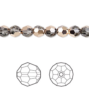 bead, swarovski crystals, crystal passions, crystal rose gold, 6mm faceted round (5000). sold per pkg of 144 (1 gross).