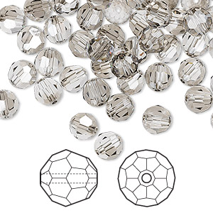 bead, swarovski crystals, crystal passions, crystal satin, 6mm faceted round (5000). sold per pkg of 144 (1 gross).