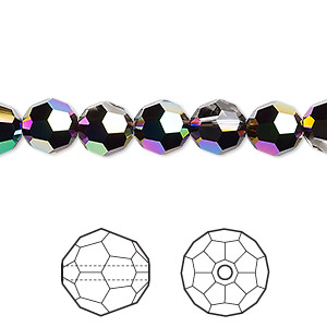 bead, swarovski crystals, crystal passions, crystal scarabaeus green, 8mm faceted round (5000). sold per pkg of 12.