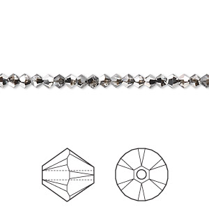 bead, swarovski crystals, crystal passions, crystal silver night, 3mm xilion bicone (5328). sold per pkg of 1,440 (10 gross).