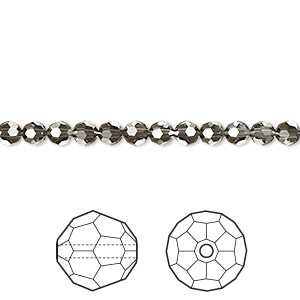 bead, swarovski crystals, crystal passions, crystal silver night, 4mm faceted round (5000). sold per pkg of 720 (5 gross).