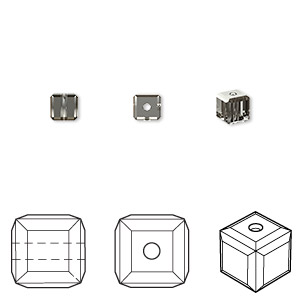 bead, swarovski crystals, crystal passions, crystal silver night, 4x4mm faceted cube (5601). sold per pkg of 12.