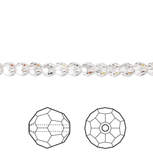 bead, swarovski crystals, crystal passions, crystal silver shade, 4mm faceted round (5000). sold per pkg of 12.
