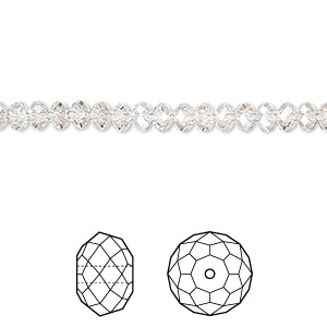 bead, swarovski crystals, crystal passions, crystal silver shade, 4x3mm faceted rondelle (5040). sold per pkg of 12.