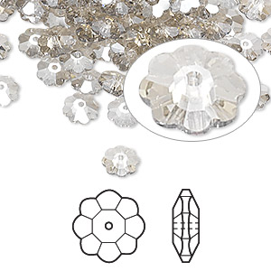 bead, swarovski crystals, crystal passions, crystal silver shade, 6x2mm faceted marguerite lochrose flower (3700). sold per pkg of 144 (1 gross).