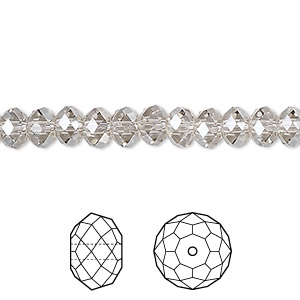 bead, swarovski crystals, crystal passions, crystal silver shade, 6x4mm faceted rondelle (5040). sold per pkg of 144 (1 gross).