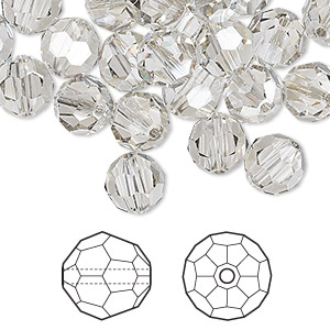 bead, swarovski crystals, crystal passions, crystal silver shade, 8mm faceted round (5000). sold per pkg of 144 (1 gross).