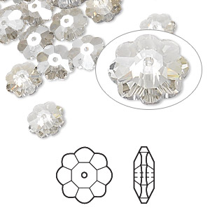 bead, swarovski crystals, crystal passions, crystal silver shade, 8x3mm faceted marguerite lochrose flower (3700). sold per pkg of 12.