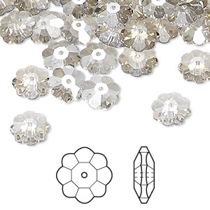 bead, swarovski crystals, crystal passions, crystal silver shade, 8x3mm faceted marguerite lochrose flower (3700). sold per pkg of 288 (2 gross).