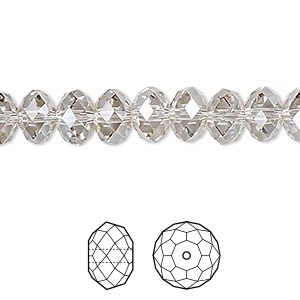 bead, swarovski crystals, crystal passions, crystal silver shade, 8x6mm faceted rondelle (5040). sold per pkg of 12.