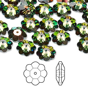 bead, swarovski crystals, crystal passions, crystal vitrail medium, 10x3.5mm faceted marguerite lochrose flower (3700). sold per pkg of 12.