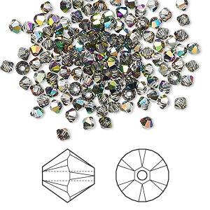 bead, swarovski crystals, crystal passions, crystal vitrail medium, 3mm xilion bicone (5328). sold per pkg of 144 (1 gross).
