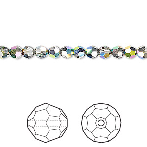 bead, swarovski crystals, crystal passions, crystal vitrail medium, 4mm faceted round (5000). sold per pkg of 12.