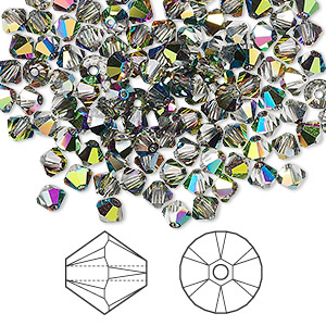 bead, swarovski crystals, crystal passions, crystal vitrail medium, 4mm xilion bicone (5328). sold per pkg of 144 (1 gross).