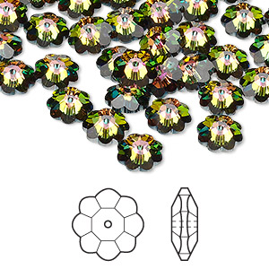 bead, swarovski crystals, crystal passions, crystal vitrail medium, 8x3mm faceted marguerite lochrose flower (3700). sold per pkg of 144 (1 gross).