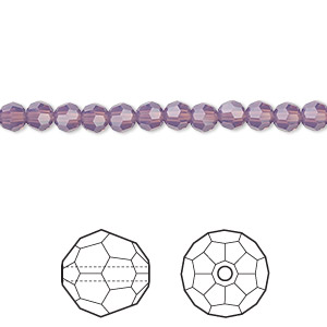 bead, swarovski crystals, crystal passions, cyclamen opal, 4mm faceted round (5000). sold per pkg of 12.