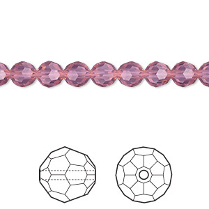 bead, swarovski crystals, crystal passions, cyclamen opal, 6mm faceted round (5000). sold per pkg of 360.