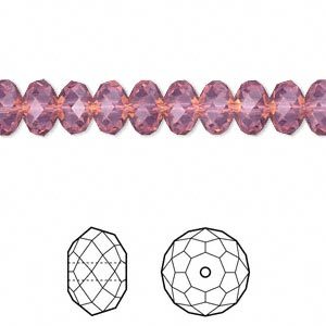 bead, swarovski crystals, crystal passions, cyclamen opal, 8x6mm faceted rondelle (5040). sold per pkg of 12.
