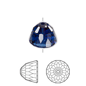 bead, swarovski crystals, crystal passions, dark indigo, 14x11mm faceted dome small (5542). sold per pkg of 6.