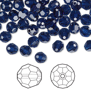bead, swarovski crystals, crystal passions, dark indigo, 6mm faceted round (5000). sold per pkg of 12.