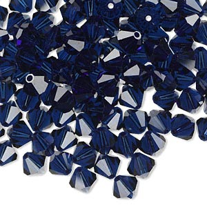 bead, swarovski crystals, crystal passions, dark indigo, 6mm xilion bicone (5328). sold per pkg of 144 (1 gross).