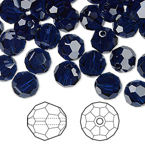 bead, swarovski crystals, crystal passions, dark indigo, 8mm faceted round (5000). sold per pkg of 144 (1 gross).