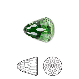 bead, swarovski crystals, crystal passions, dark moss green, 15x13.5mm faceted dome large (5541). sold per pkg of 6.