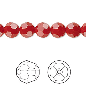 bead, swarovski crystals, crystal passions, dark red coral, 8mm faceted round (5000). sold per pkg of 12.