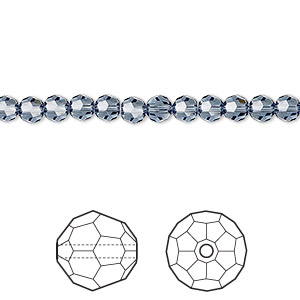 bead, swarovski crystals, crystal passions, denim blue, 4mm faceted round (5000). sold per pkg of 12.