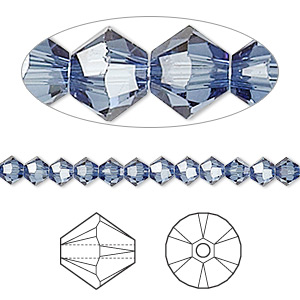 bead, swarovski crystals, crystal passions, denim blue, 4mm xilion bicone (5328). sold per pkg of 48.
