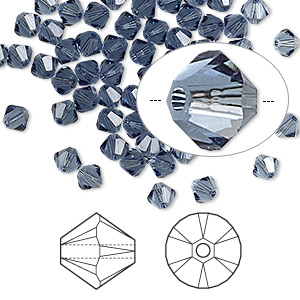 bead, swarovski crystals, crystal passions, denim blue, 4mm xilion bicone (5328). sold per pkg of 144 (1 gross).