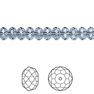 bead, swarovski crystals, crystal passions, denim blue, 6x4mm faceted rondelle (5040). sold per pkg of 12.