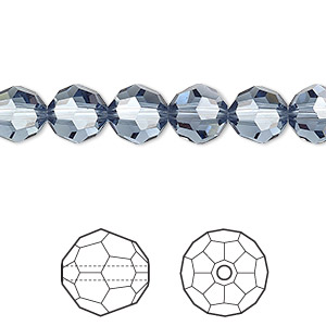 bead, swarovski crystals, crystal passions, denim blue, 8mm faceted round (5000). sold per pkg of 12.