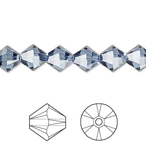 bead, swarovski crystals, crystal passions, denim blue, 8mm xilion bicone (5328). sold per pkg of 12.